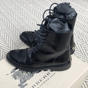 Burberry Patent Leather Combat Boots